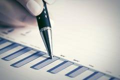 Informe financiero del mercado de acción del análisis de los gráficos Imagen de archivo