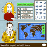 Informe meteorológico fijado con los iconos Foto de archivo libre de regalías