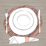 Informell inställning för vektortabell Bordsservis och ätaredskap är Arkivfoton