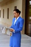 informerad affärskvinna Arkivfoto