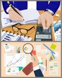Informes de la oficina de las cartas de negocio y hombre de la cuenta libre illustration