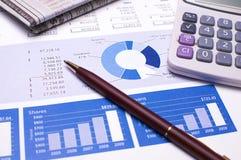 Informes del azul de la planificación financiera Imagenes de archivo