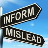 Informez trompent des moyens de poteau indicateur laissez savent ou égarent illustration de vecteur