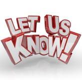 Informieren Sie uns Wort-Feed-back-Input-Kommentare Lizenzfreie Stockfotos