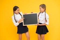 Informing changes. Classmates initiative team yellow background. Join school club. Pupils community. School schedule. School girls cute pupils hold blackboard stock images