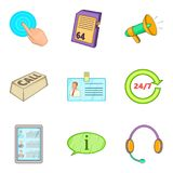 Informing icons set, cartoon style Royalty Free Stock Images