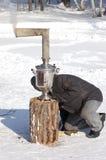 Infornamento del samovar a Shrovetide Fotografia Stock Libera da Diritti