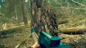 Infornando da un fucile dalla prima persona stock footage