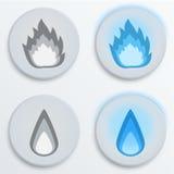 Inforni il blu delle fiamme, metta le icone, illustrazione di vettore Fotografia Stock