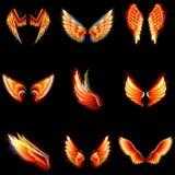 Inforni l'apertura alare ardente dell'uccello bruciante di fantasia di angelo alata vettore di Phoenix delle ali del fireburn del royalty illustrazione gratis