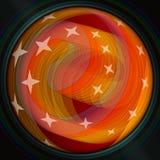 Inforni la spirale arancio semitrasparente con le stelle su fondo nero, il fondo astratto moderno per il proprio testo, messaggio Fotografie Stock