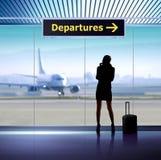 Infosignage im Flughafen Stockbilder