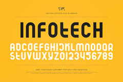 Infotech. Set of stylized alphabet letters and numbers. , regular font type. stylish typeface design. modern typesetting Stock Images