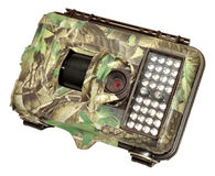 Infra Red Wildlife Trail Camera. Covered in camouflage tape, isolated on a white background Royalty Free Stock Photos