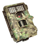 Infra Red Wildlife Trail Camera. Covered in camouflage tape, isolated on a white background Stock Photography