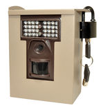 Infra Red Wildlife Trail Camera. In a locked metal security case, isolated on a white background Royalty Free Stock Photos