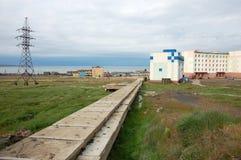 Infraestructura ártica de la ciudad del colector concreto del abastecimiento de agua Imagen de archivo