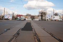 Infraestructura de la tranvía de Bucarest fotos de archivo libres de regalías