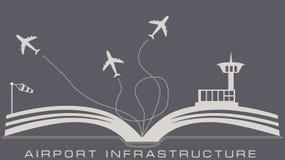 Infraestructura del aeropuerto del libro abierto Foto de archivo