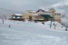 Infraestructura del esquí en Gorki Gorod 960 metros sobre nivel del mar Fotos de archivo