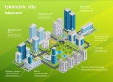 Infraestructura Infographics isométrico de la ciudad libre illustration