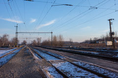 Infraestrutura elétrica da estrada de ferro, Europa Oriental Fotografia de Stock Royalty Free