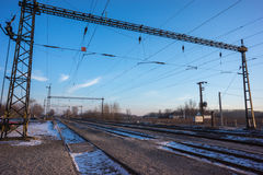 Infraestrutura elétrica da estrada de ferro, Europa Oriental Foto de Stock