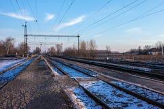 Infraestrutura elétrica da estrada de ferro, Europa Oriental Foto de Stock Royalty Free