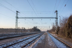 Infraestrutura elétrica da estrada de ferro, Europa Oriental Fotografia de Stock