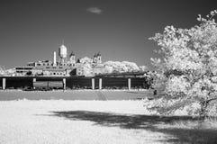 Infraröd bild av Ellis Island från Liberty Park Royaltyfria Bilder