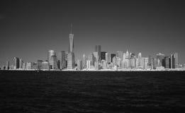 Infraröd bild av Lower Manhattan från Liberty Park Arkivfoton