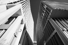 Modern architecture office buildings in infrared black and white, on a sunny day. An infrared black and white picture of modern office buildings in Berlin, on a Stock Photography