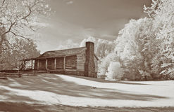 Infrared Cades Cove Cabin Stock Photo