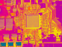 Infrared  circuit board close up with microchips Royalty Free Stock Photo