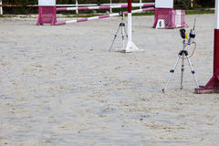 Infrared devices barriers before obstacle at horse jumping compe Royalty Free Stock Image