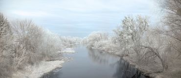 Infrared edited landscape of river on a spring day stock photos