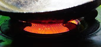 Infrared gas. The red light from the infrared gas burner Stock Image
