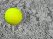 Infrared Golf. A yellow golf ball on a tee in front of infrared filtered grass Stock Photos