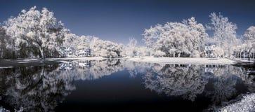 Infrared 180 grad panorama Arkivbilder