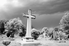 Infrared graveyard scene Stock Images