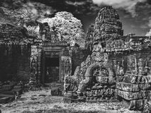 Infrared image of Angkor Wat - The bliss of Khmer architecture Royalty Free Stock Image