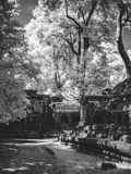 Infrared image of Angkor Wat - The bliss of Khmer architecture Royalty Free Stock Photography