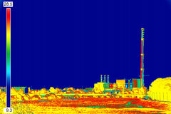 Infrared image Chimney of energy station Royalty Free Stock Photos