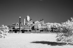 Infrared image of the Ellis Island from the Liberty Park Royalty Free Stock Photo