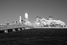 Infrared image of the Ellis Island from the Liberty Park Royalty Free Stock Photos