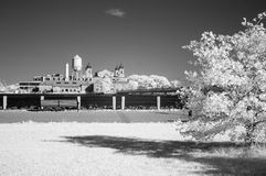Infrared image of the Ellis Island from the Liberty Park Royalty Free Stock Images