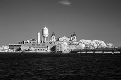 Infrared image of the Ellis Island from the Liberty Park Stock Photography
