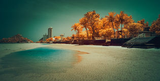 Infrared image of Hua Hin beach. Royalty Free Stock Photos