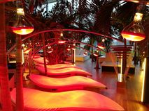 Infrared lamps and loungers. At spa resort - loungers Royalty Free Stock Photography
