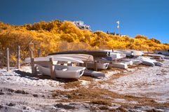 Infrared landscape of boat storage Stock Photos